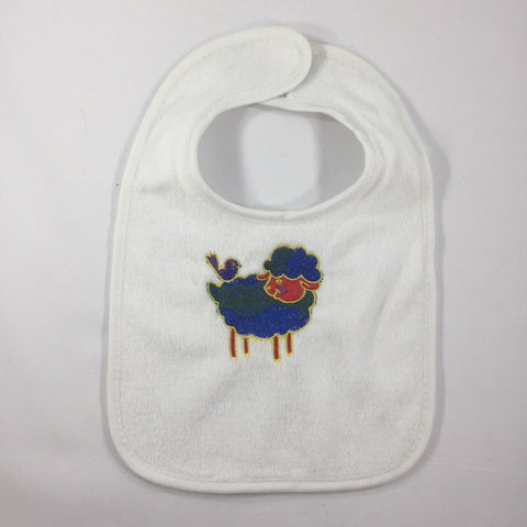 White Baby Bib with a Blue Embroidered Lamb with a little bird on its back.