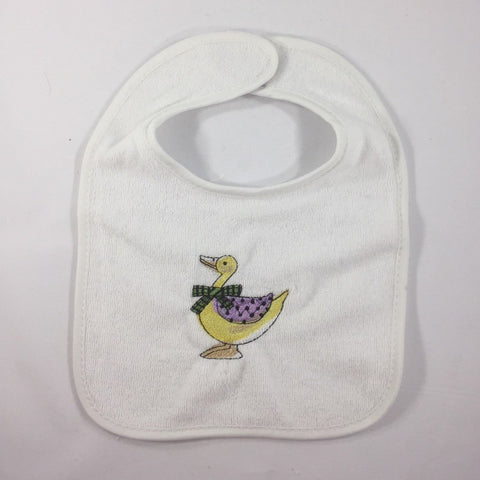 Embroidery, White Baby Bib, Yellow Duck