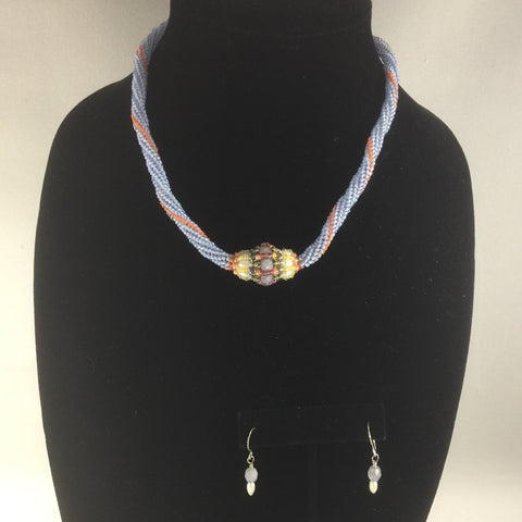 "Light Blue and Orange Peyote Stitch Beaded Rope Necklace of Glass Seed Beads with a hand made bead with Czech Fire Polished Glass Beads, Rice Pearls and Glass Seed Beads.  Sterling clasp. Necklace length 16'"".  Matching pair of earrings included."