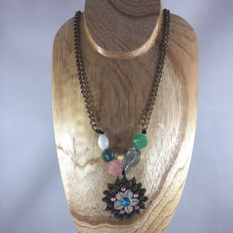 "Brass Chain with Pendant an Beads, Green, Pink, White, Blue and Crystal.  Necklace is 18"" long."