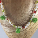 Necklace, Christmas White, Green and Red Weave Glass Seed Beads and 3 Green Ball Dangles, Size 23""