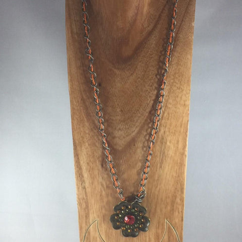Necklace, Brass Chain and Brass Pendant with Orange Seed Glass Seed Bead Intertwined in Chain.  Length 28""