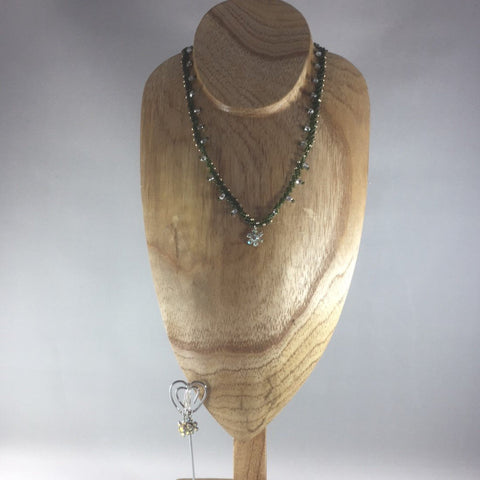 Necklace, Green Dainty Weave Necklace with Green Glass Seed Beads and Crystal Czech Glass Beads.  A Flower Dangle finishes off this necklace.  Matching Dangle Earrings included.  Length 16""