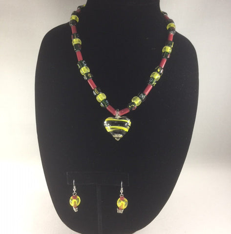 Necklace, Glass Red, Green, and Yellow Beads with a Lampwork Crystal Heart.  Length 18""