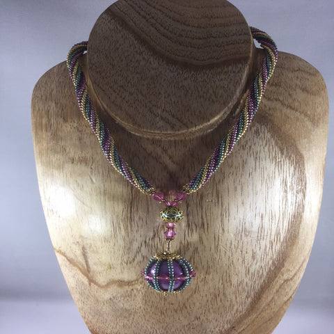 Glass Seed Bead Braided Rope Necklace with Glass Caged Ball Braided with Gold and Pastel Metalized Colors.  Length 14""