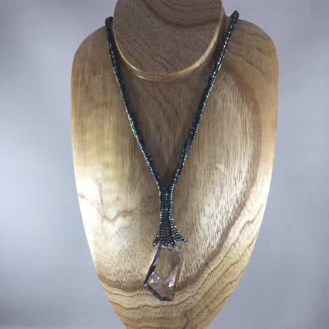 """Crystal Love""  Beautiful Large Swarovski Cosmic Pendant hanging from a hand beaded rope done in glass Delica beads,  Necklace 18"" with 3"" drop.  Matching earrings included."