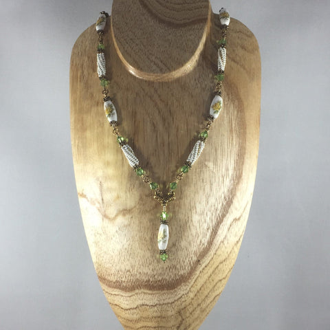"Beaded Components and Peridot Swarovski, White.  Length 18"", Gold tone"