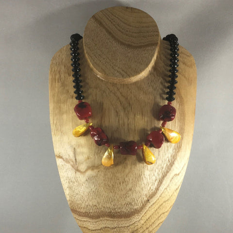 "Red and Gold chunky bead necklace.  Necklace measures 18"" around.  Sterling magnetic clasp and sterling ear wires.  Earrings included."