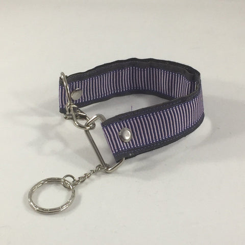 Accessory, Key Fob with a blue border and thin red lines.  Handmade by sisters2creations. Can wrap on wrist or hang on hook.