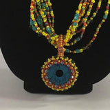 SET, Yellow Multiple strand necklace with hand beaded pendant.