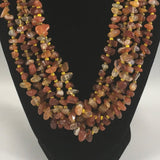 Necklace, 5 Strands Topaz Chips,  Sterling.