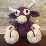 "Crocheted and Stuffed Purple Cow. Cotton Yarn. Zoomigurumi pattern.  9"" tall."