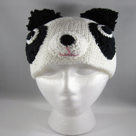 Crochet, Hat, Panda Bear.  Size Teen/Adult Large.