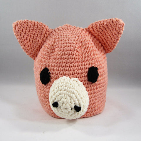 Crochet Hat, Peach Wiggly Piggy.  Cotton Yarn.  Size Newborn to 6mos.  Amigurumi pattern. Machine wash gentle cold.  Do not put in dryer.