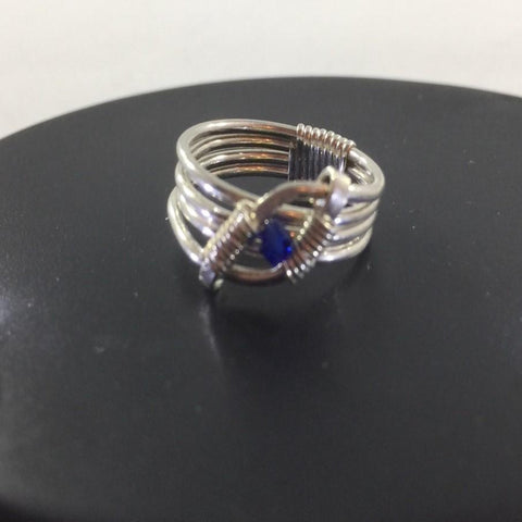 Ring, Sterling Wire Wrap with Blue Swarovski Crystal.  Size 6 3/4