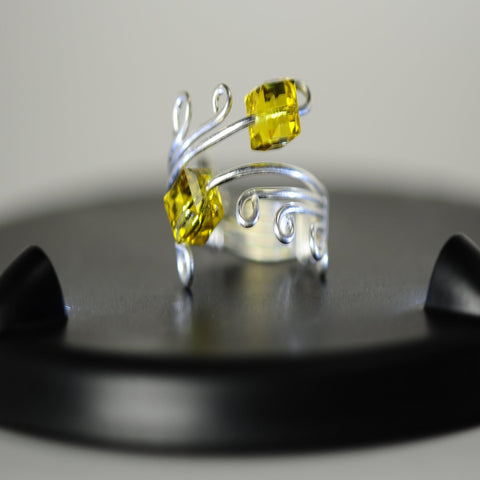 Ring, Sterling Wire Wrap with 2 Citrine Swarovski Cubes.  Size 7 1/2