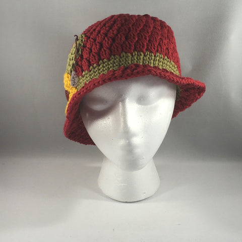 Cranberry Red with Green Band and Yellow Flower.  Acrylic Yarn.  Machine washable. Size Child/Adult Medium.