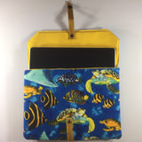 Tablet/IPad Case, Ocean Theme, Snap Closure, 2 Spare Pockets on Back