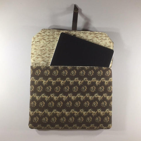 "Tablet/IPad Case, Brown Pattern, Snap Closure, 2 Spare Pockets on Back.  Embroidered Flap.  Shoulder Strap.  Size H8"" W10-6/8"""