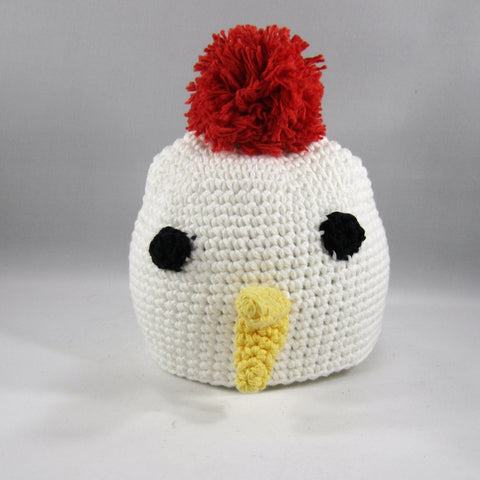 White 'Chicky'.  Cotton yarn.  Size Small, Newborn to 6mos.  Crocheted Amigurumi pattern. Machine wash gentle cold.  Do not put in dryer.