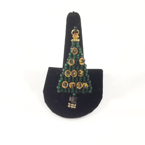 Hand Beaded Green Christmas Tree pin/pendant made with Green and Topaz Swarovski Crystals.