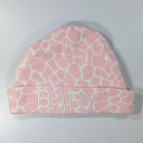 Light Pink Embroidered Hat with the word Baby Embroidered on front