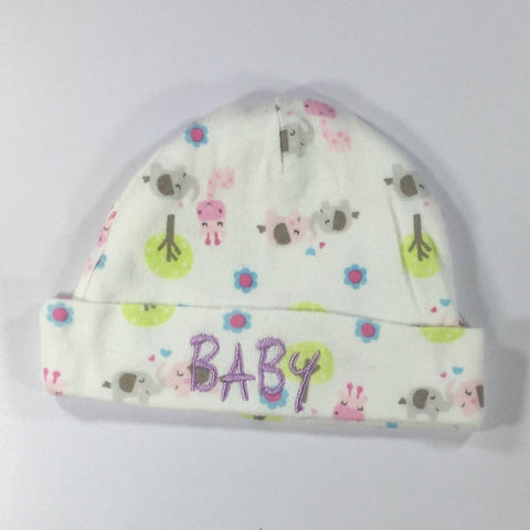 White Patterned Embroidered Hat with the word Baby Embroidered on front in Purple Thread