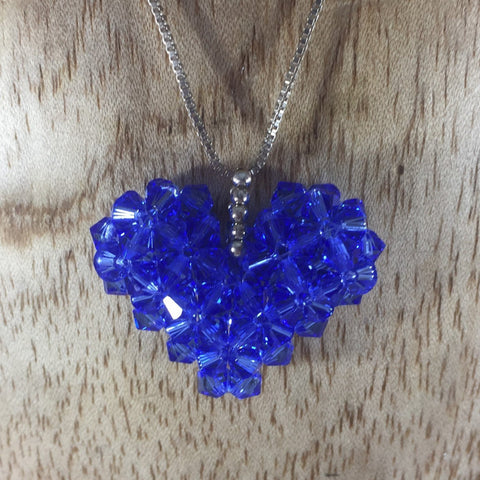 Hand Beaded Blue Heart Pendant made with Swarovski Beads