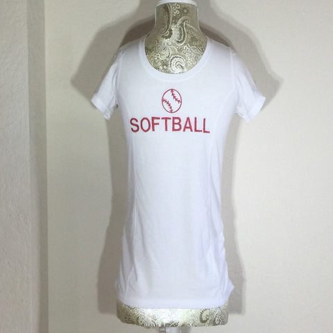 White Embroidered Child T-Shirt, with the word Softball across the front in capital letters. Size Large (10-12)