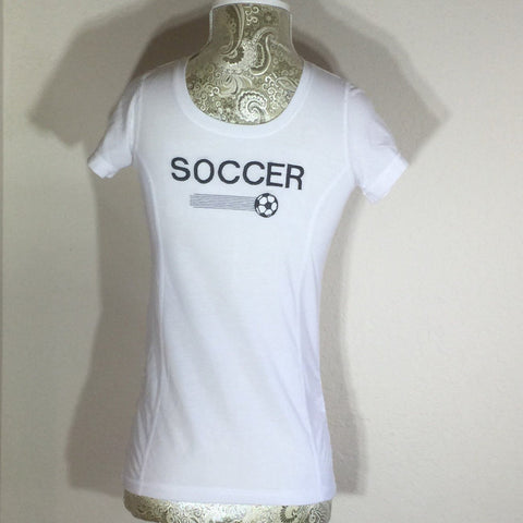 White Embroidered Child T-Shirt with the word Soccer across the front in capital letters. Size Large (10-12)