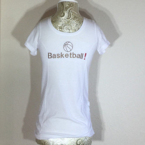 White Embroidered Child T-Shirt, with the word Basketball across the front in capital letters. Size Large (10-12)