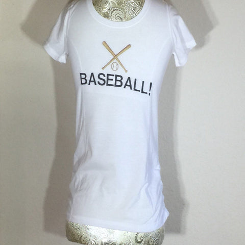 White Embroidered Child T-Shirt with the word Baseball across the front in capital letters. Size Large (10-12)