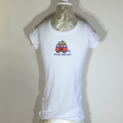 "White Embroidered T-Shirt, Little Red Van with the words ""Are We There Yet?"". Child Size Medium (7-8)"