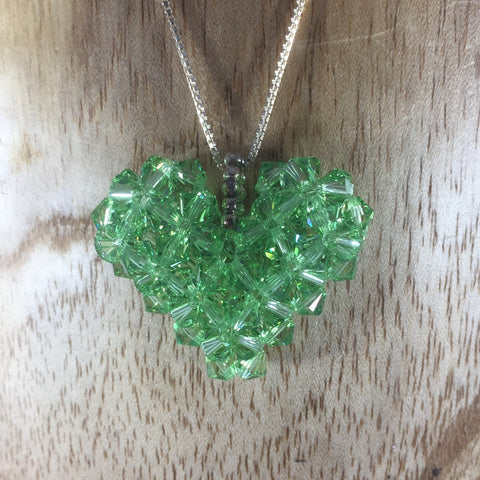 Hand Beaded Heart Pendant made with Light Green Swarovski Beads