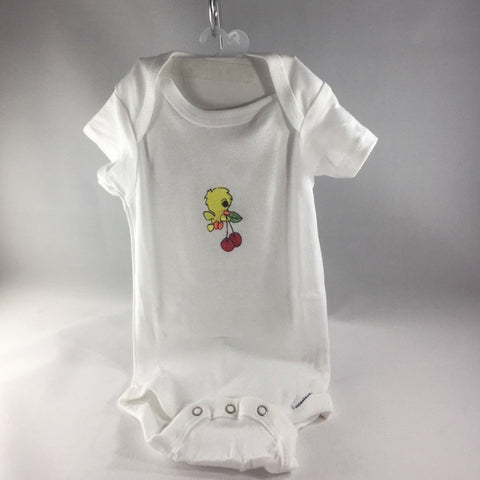 Baby Onsie for age 3-6mos.  Embroidered with A little Yellow Bird with Cherries in its Beak