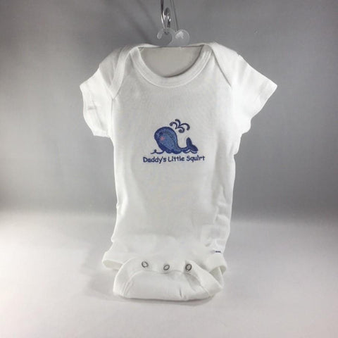 "Baby Onsie for age 3-6mos.  Embroidered Blue Whale and the words ""Daddy's Little Squirt"""