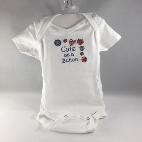 "Onsie, Baby Onsie for age 0-3mos.  Embroidered with Buttons and the words ""Cute As A Button"""
