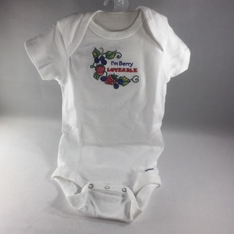 "Baby Onsie for age 6-9mos.  Embroidered with Berries and the words ""I'm Berry Loveable"""