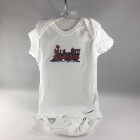 Baby Onsie for age 0-3mos.  Embroidered with Red Choo Choo Engine