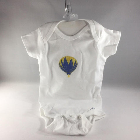 Baby Onsie for age 6-9mos.  Embroidered with Blue and Yellow Hot Air Balloon