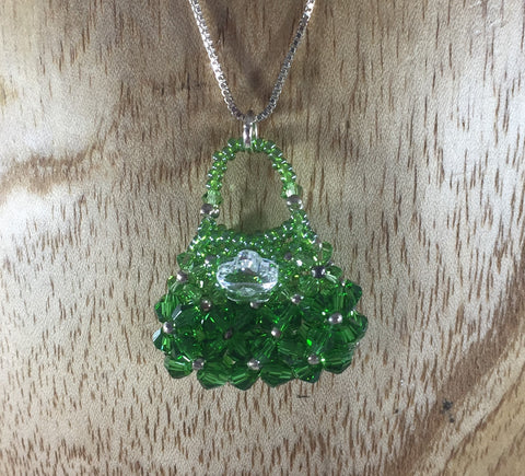 Hand Beaded Purse Pendant with Green Swarovski Crystals.