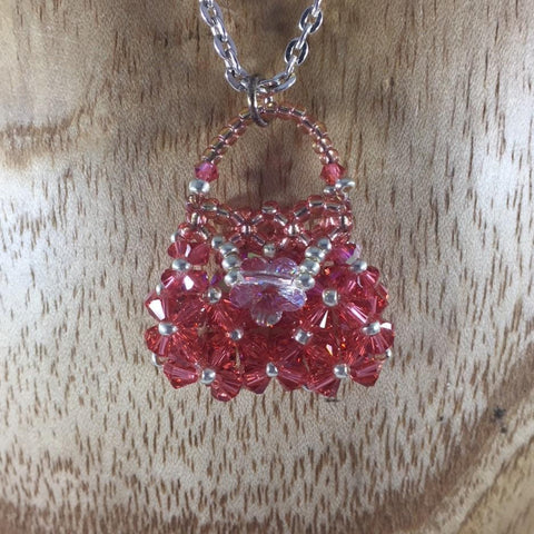Hand Beaded Purse Pendant with Pink Swarovski Crystals.