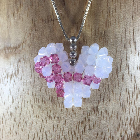 Hand Beaded Swarovski White with Cancer Awareness ribbon Heart, Pendant.