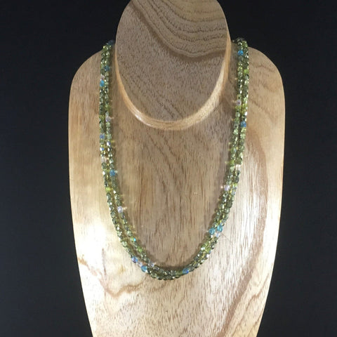 Necklace, Strung 2 Strands, Green and Pastel Czech Fire Polished Glass Beads, Sterling Clasp.  Necklace 19""