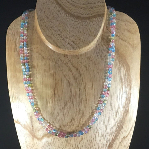 Strung, 2 Strands Pastel Czech Fire Polished Glass Beads.  Sterling clasp.  Necklace length 18""