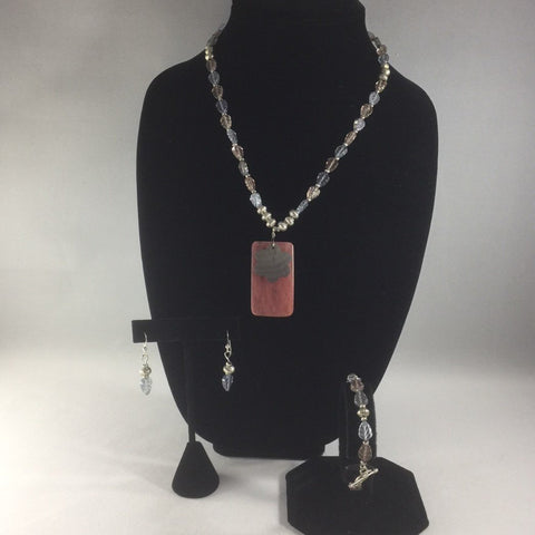 "Necklace, Strung Beads of Pastel Blue and Pink Glass Leaves and a Pink Agate Focal with a Shell Flower.  Necklace length 16"".  Bracelet length 7-1/4"".  All Sterling Clasps and Ear Wires."