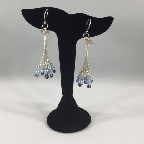 Pierced Wire Wrapped Chandelier Earrings with Pearls and Blue Beads. Sterling Wire Wrap and Ear Wires.