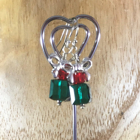 Pierced Earrings on Sterling Ear Wires.  Green Swarovski Cube with Red Swarovski Smaller Cube and a silver ribbon on top.  Sterling