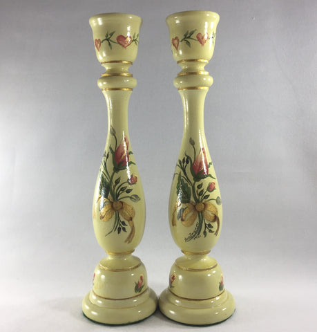 "Candlestick, Pale Green background with Pink Roses.  Hand painted on turned wood with 6 coats of gloss.  Gold ring detailing.  Brass candle holder ring and felt padded on bottom to prevent damage to furniture.  9"" tall."