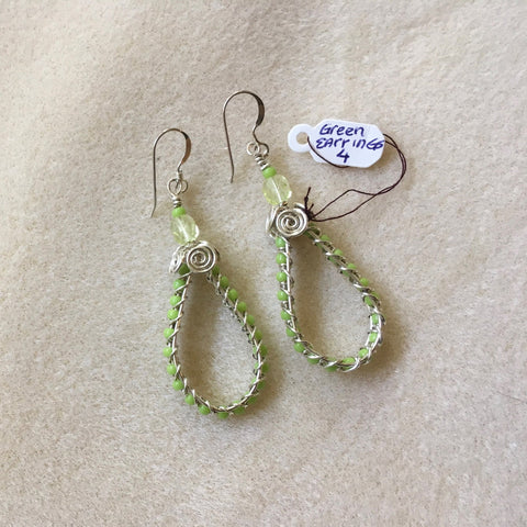 Pierced Sterling Silver Wire Wrapped Hoop Earrings with Green Beads. Sterling ear wires.
